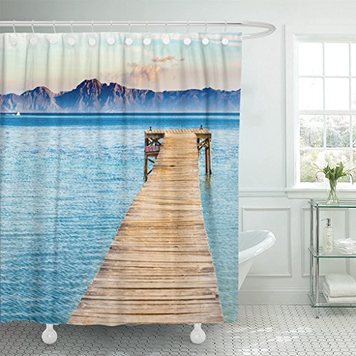 TOMPOP Shower Curtain Beautiful Scenery with Jetty at the Seaside of Alcudia Beach Platja De Muro Spain Majorca Mediterranean Waterproof Polyester Fabric 72 x 78 Inches Set with Hooks by TOMPOP