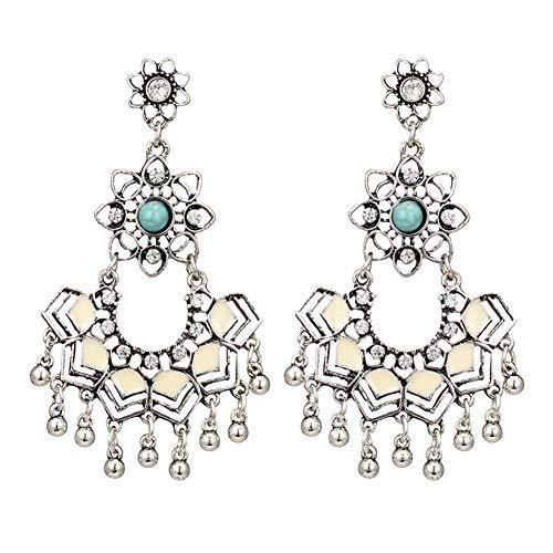 Women Faux Turquoise Chandelier Hollow Flower Statement Dangle Stud Earrings