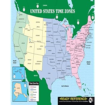 U S And World Maps With Time Zones Learning Card