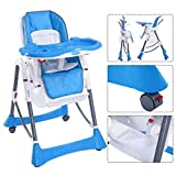Baby High Chair Portable Infant Toddler Feeding Booster Folding Highchair Blue