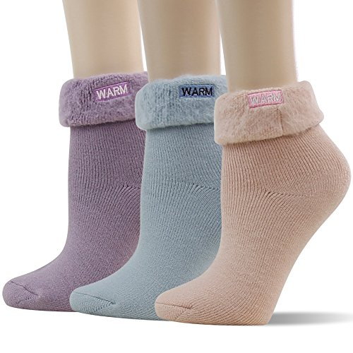 (Warm Heated Socks Women, SUTTOS Fashion Casual Cotton Thermal Comfort Fuzzy Thick Turn Cuff Movelty Cute Funny Heat Trapping Thermal Lined Boot Socks Warm Winter Crew Socks For Cold Weather,3 Pairs)