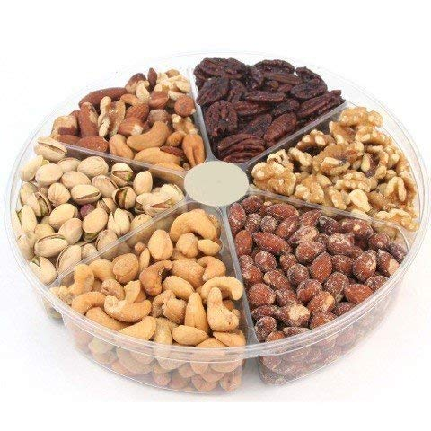 California Natural Nuts Freshly Roasted Nut Gift Tray 2 Lbs Delicious Salted Almonds, Buttery Cashews, Tasty Pistachios, Savory Mixed Nuts, Chocolate Covered Almonds, Walnuts, Pecan (2 POUNDS)