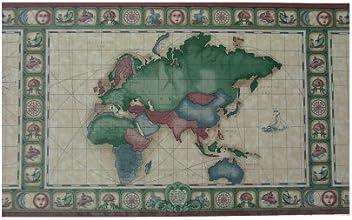 Wallpaper Border Map Themed Burgundy