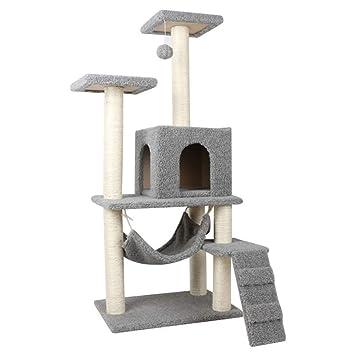 CAT TREE Árbol para Gatos De La Torre del Sisal Hamaca Rascador Columpio Actividad Centro De
