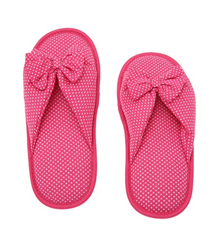 Deluxe Comfort Cotton Polka Dot Women's Open Toe Flip-Flops, Size 5-6 - Be Hip While Staying Comfy - Cute Classic Butterfly Bow - Soft, Gripping Non-Slip Durable Rubber Sole - Women's Slippers, Pink