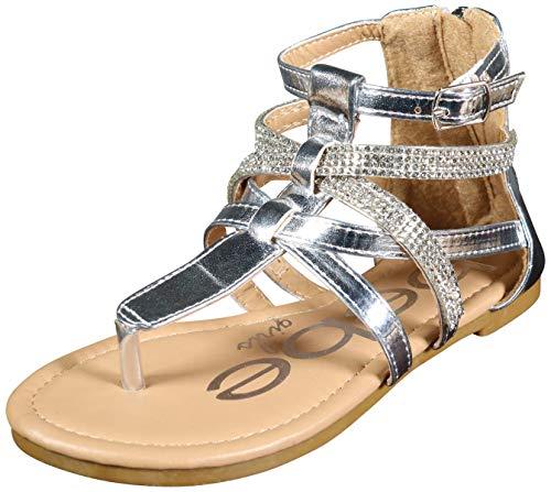 (bebe Girls Metallic Gladiator Sandals with Rhinestone Straps, Silver, Size 1 M US Little)