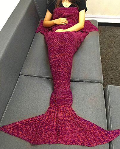 Adult and Child New Mermaid Knitting Fish Blanket (Red) - 8