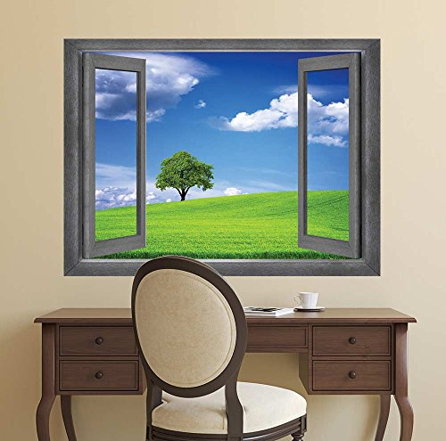 Open Window Creative Wall Decor A Lone Tree Displayed with a Clear Blue Sky Wall Mural