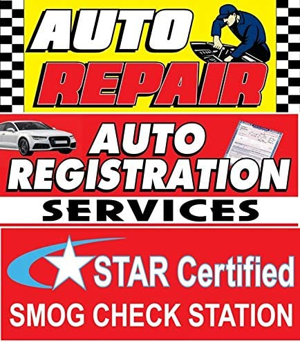 AUTO Repair AUTO Registration Services Star Certified SMOG Check Station Vinyl Banner Size 30inch X 80inch Pack of 3