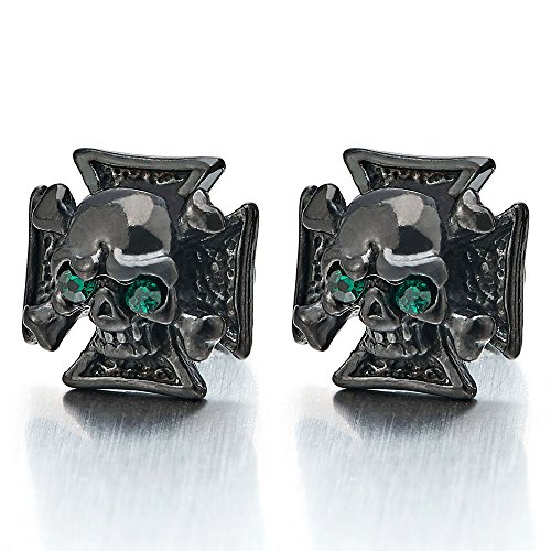Stainless Steel Mens Black Cross Skull Stud Earrings with Cubic Zirconia, Gothic Punk Rock, 2 pcs