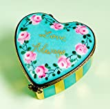 Authentic French Hand Painted Limoges Porcelain '' Love Always'' Turquoise Heart with Pink Roses and Gold Box