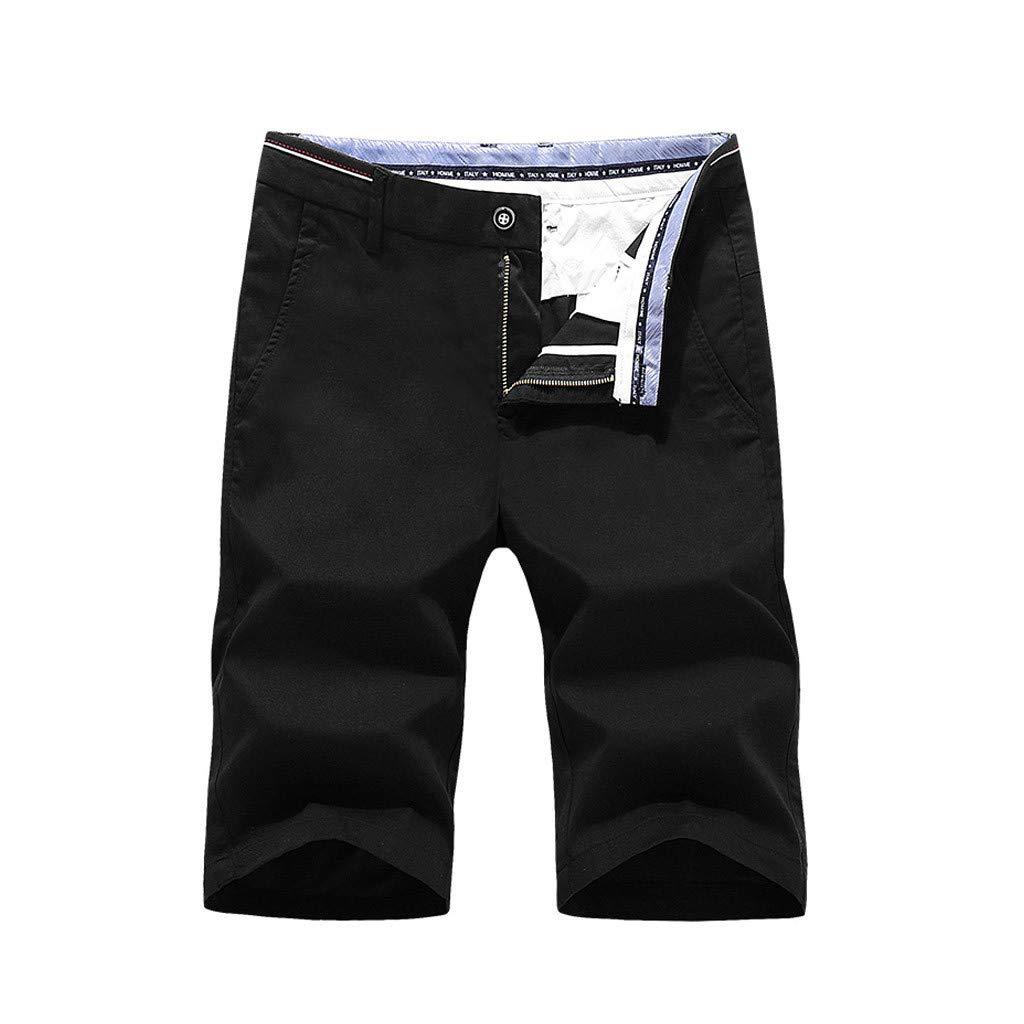 NUWFOR Mens Fashion Casual Shorts Jeans Beach Work Casual Short Trouser (Black,US S Waist:31.5'')