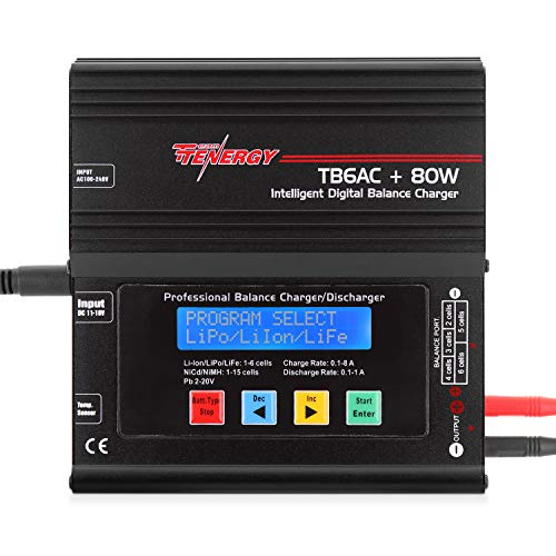 (Tenergy TB6AC+80W Balance Charger Discharger, 1S-6S Intelligent Digital Battery Pack Charger for NiMH/NiCd/Li-Po/Li-Fe Packs, LCD RC Battery Charger w/ Tamiya/JST/EC3/HiTec/Deans Connectors)