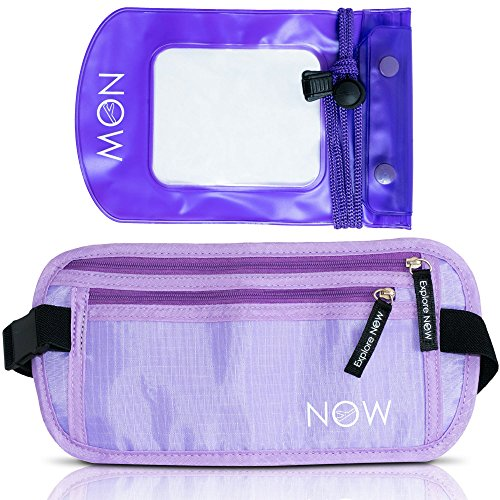 hidden-purple-rfid-money-belt-w-waterproof-pouch-for-travel-running-swimming-hiking-biking-walking-d