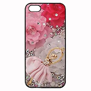 Girly Pink Flowers and Ballerina Dancer Printed Plastic Rubber Sillicone Customized iPhone 5 Case, iPhone 5S Case Cover, Protection Quique Cover, Perfect fit, Show your own personalized phone Case for iphone 5 & iphone 5S by icecream design