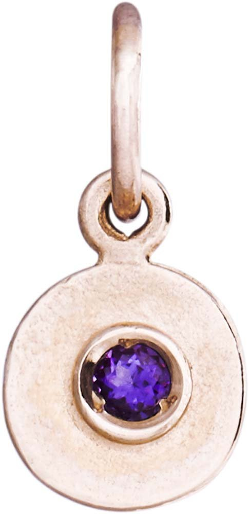 Helen Ficalora Birth Jewel Disk Charm With Amethyst Rose Gold