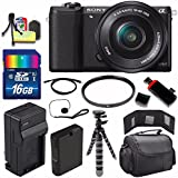 Sony Alpha a5100 Mirrorless Digital Camera with 16-50mm Lens (Black) + Battery + Charger + 16GB Bundle 1 - International Version (No Warranty)