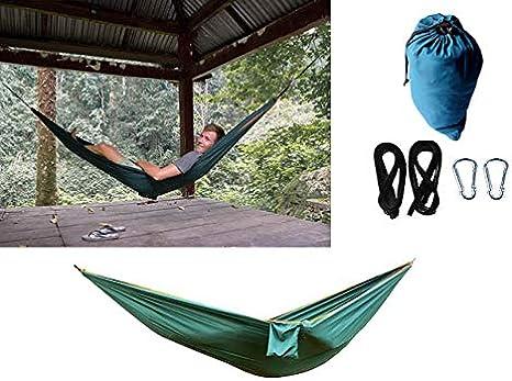 Globetrotterdammers Hamaca para 1 o 2 Personas Nylon Portable compacta Ultraligera Resistente Exterior jardín Camping Viaje Playa fácil mosquetones Correas Incluidas (Verde)