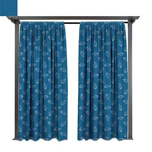 leinuoyi Blue and White, Outdoor Blackout Curtains, Abstract Nautical Pattern with Hand Drawn Style Seashells Spiral Mollusk, Outdoor Privacy Porch Curtains (W84 x L96 Inches Blue and -
