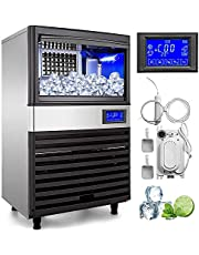 Happybuy Ice Making Machine Commercial 286lb/24h Ice Maker Cube Machine 110V 335W Stainless Steel 6x18 Cubes for Supermarkets Restaurants Laboratories (286lbs/24h)