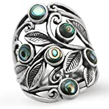 Abalone/Paua Shell 925 Sterling Silver Filigree Leaf Ring