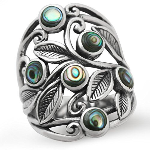 925 Sterling Silver Shell - Abalone/Paua Shell 925 Sterling Silver Filigree Leaf Ring Size 7