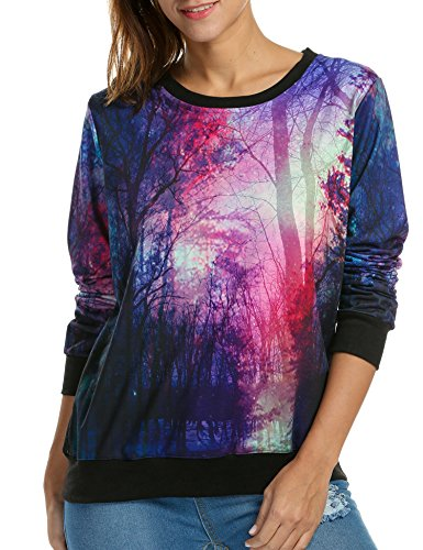 ACEVOG Neon Galaxy Cosmic Colorful Patterns Print Sweatshirt Sweaters,Forest,Large