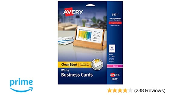Amazon avery printable business cards laser printers 200 amazon avery printable business cards laser printers 200 cards 2 x 35 clean edge 5871 business card stock office products reheart Choice Image