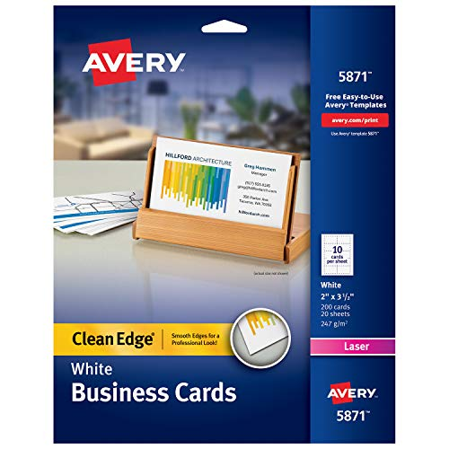 Avery Printable Business Cards, Laser Printers, 200 Cards, 2 x 3.5, Clean Edge (5871) (Stock Laser)