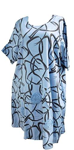 schwarz Frühjahrsmode schwarz weit Lagenlook hellblau Gr Sommerleinen 3 Druck Sommerkleid Kurzarm vanilie Hellblau Labass 2018 Mustermix Leinen Kleid bunt Leinenkleid schwarz qx1RcwFX4U