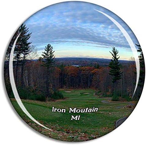 アイアンマウンテンパインマウンテンミシガン米国冷蔵庫マグネット3Dクリスタルガラス観光都市旅行お土産コレクションギフト強い冷蔵庫ステッカー