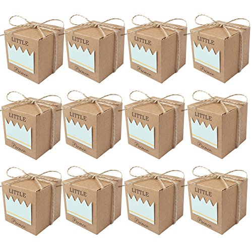 AerWo 50pcs Little Prince Baby Shower Favor Boxes + 50pcs Twine Bow, Rustic Kraft Paper Candy Bag Gift Box for Baby Shower Party Supplies Cute 1st Birthday Boy Decoration, Blue -