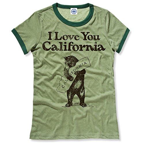 (Hank Player U.S.A. I Love You California Women's Ringer T-Shirt (XL, Heather Green))