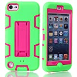 iPod Touch 6 Case,iPod Touch 5 Case, NOKEA Case Rugged Hybrid Dust Scratch Shock Resistance Kickstand Full Cover Case with Video Watching Stand for iPod touch 5 6th Gen (Green Red)