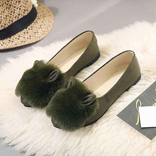 Y-Hui Autunno e Inverno scarpe nuove scarpe All-Match scarpe piatte Slip-On appuntita bocca poco profonda,37 (Fit per 36 piedi),verde