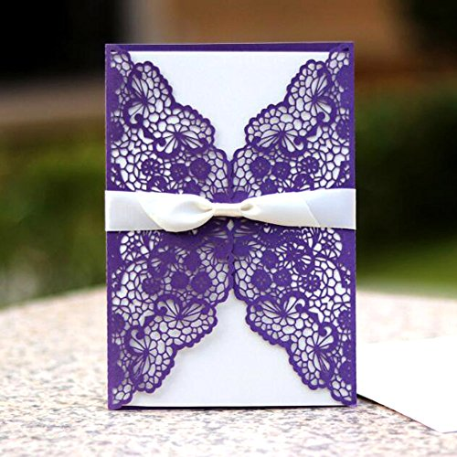 WOMHOPE 50 Pcs - Lace Butterfly Flowers Hollow Laser Cut Wedding Invitation Party Wedding Favors Invitation Cards Birthday Invitations Baby Shower Card (Purple (White BLANK inner sheets))