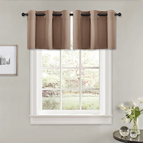 (PONY DANCE Window Curtain Tiers - (42 Wide by 24 Long, Mocha, 2 PCs) Kitchen Short Blinds Thermal Grommet Valances Set Match with Panels for Bedroom Home Decor )
