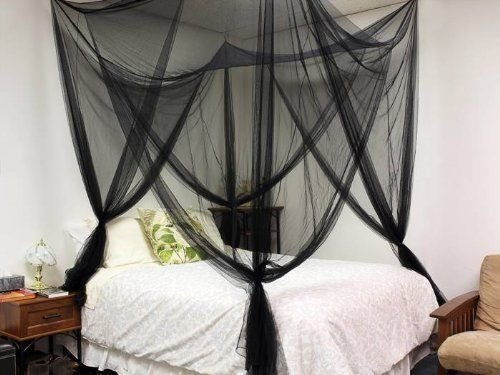 JAXPETY 4 Corner Post Bed Canopy Mosquito Net Full Queen King Size Netting Bedding Black by JAXPETY