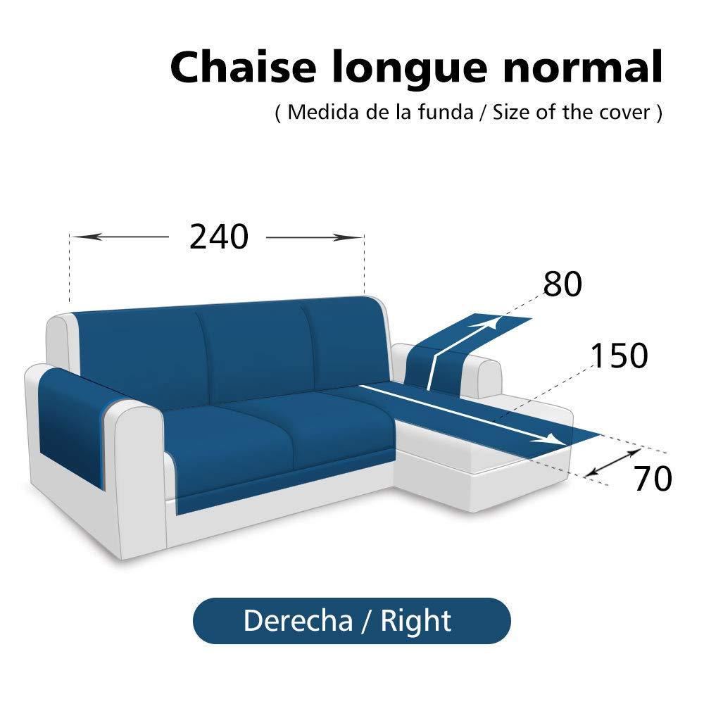 Fundas de Sofa Chaise Longue Derecho 240cm Impermeable,Protector Su Muebles Chairse Longue Cubierta para Sofás Acolchado Reversible Cubre de Sofa ...
