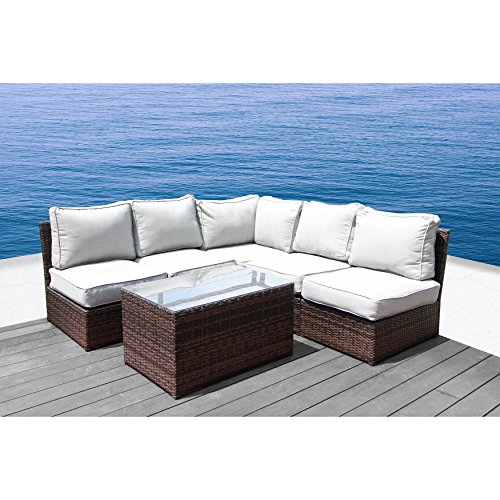 Cyber Week 2017 Deals : Lucca Brown Wicker 6-piece Sectional Set by Living Source International(6-piece Sectional Set)