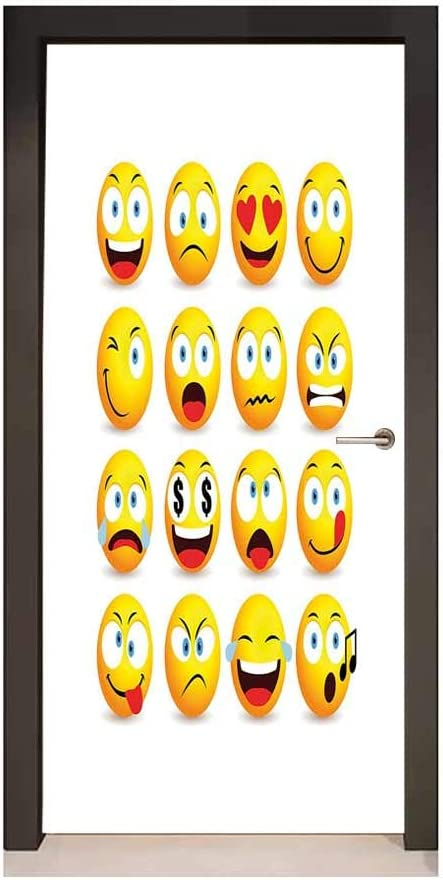 Homesonne Autocollant De Porte Motif Emoji Pop Art Avec