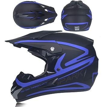 Casco de Descenso para Adultos Regalos Gafas m/áscara Guantes BMX MX ATV DH Carrera en Bicicleta de Cara Completa Casco Integral
