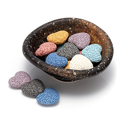 Top Plaza Lava Rock Gemstone Aromatherapy Essential Oil Diffuser Set - Oval Shape Ceramic Incense Burner/Warmer/Holder/Bowl With 14Pcs Heart Lava Stone Beads