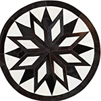 Cowhide Rug Leather Cow Hide Geometrical Star Patchwork Area Round Carpet Cow skin Rugs