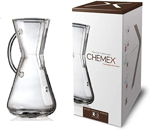 Chemex Glass Handle, Pour-over Coffeemaker, 3-Cup - Exclusive Packaging