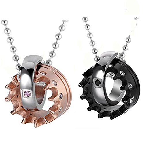 2pcs Stainless Steel His Her King Crown CZ Ring Necklace for Couples Christmas Valentines Day Gifts,with Gift Bag
