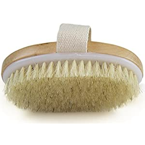 Dry Skin Body Brush – Improves Skin's Health And Beauty – Natural Bristle – Remove Dead Skin And Toxins, Cellulite Treatment, Improves Lymphatic Functions, Exfoliates, Stimulates Blood Circulation