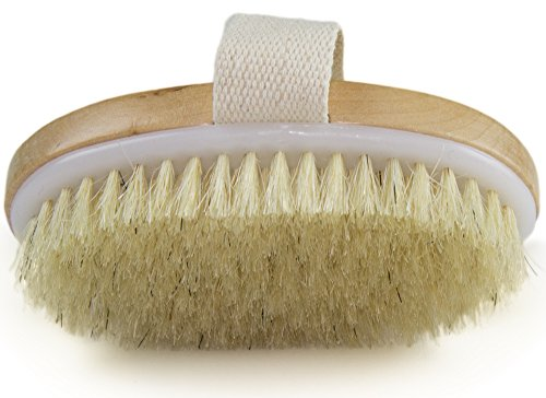 Dry Skin Body Brush - Improves Skin's Health and Beauty - Natural Bristle - Remove Dead Skin and Toxins, Cellulite Treatment, Improves Lymphatic Functions, Exfoliates, Stimulates Blood - Exfoliating Brush