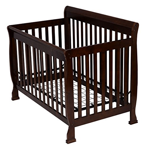 Coffee Pine Wood Baby Toddler Bed Convertible Crib Nursery Furniture Children by Happybeamy (Image #1)