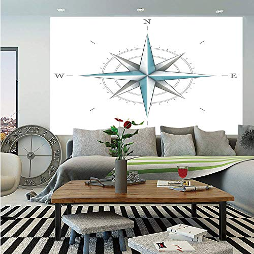 - SoSung Compass Removable Wall Mural,Antique Wind Rose Diagram for Cardinal Directions Axis of Earth Illustration,Self-Adhesive Large Wallpaper for Home Decor 66x96 inches,Blue Grey White
